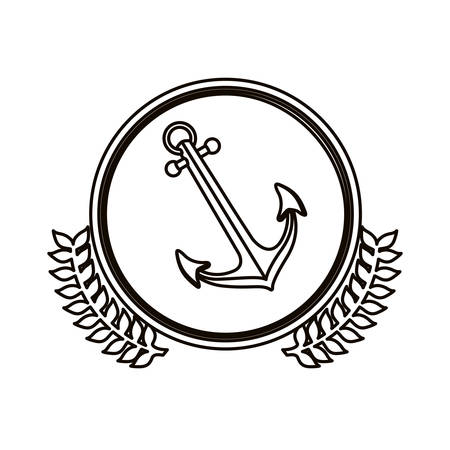 black contour circle with decorative olive branch and anchor vector illustration