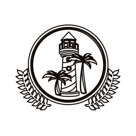 black contour circle with decorative olive branch and tower of lighthouse vector illustration