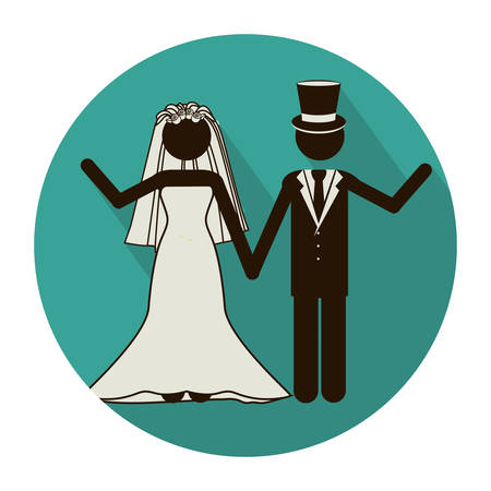 circular shape pictogram of wedding couple greeting with costumes vector illustration