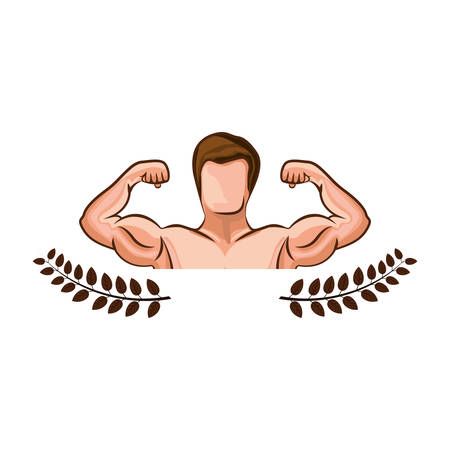 crown leaves with half body muscle man vector illustration