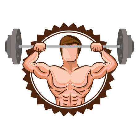 colorful stamp border with muscle man lifting a disc weights vector illustration Illustration