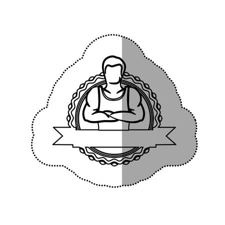 crossed arms: sticker border with contour muscle man crossed arms and label vector illustration
