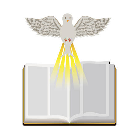vangelo aperto: colorful silhouette with holy bible open and dove vector illustration