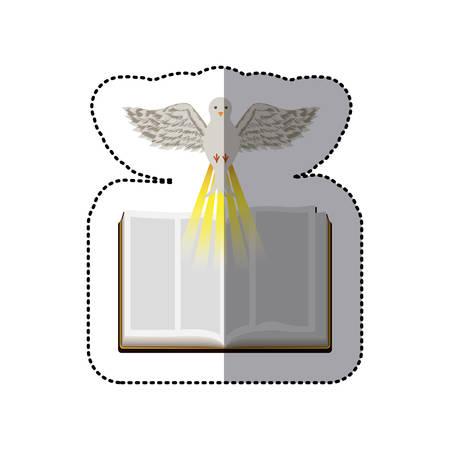 vangelo aperto: adesivo ombra mezzo colorato con Sacra Bibbia e illustrazione vettoriale colomba Vettoriali
