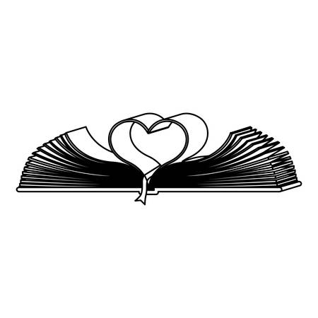 monochrome contour with holy bible open with sheets in shape heart vector illustration