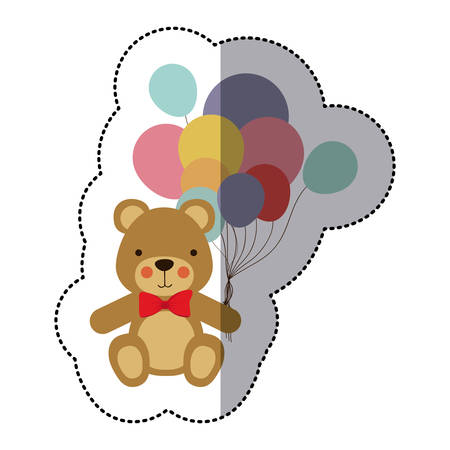 middle shadow sticker colorful with teddy bear and balloons vector illustration