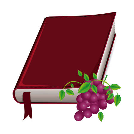colorful silhouette with holy bible with ribbon and grapes vector illustration