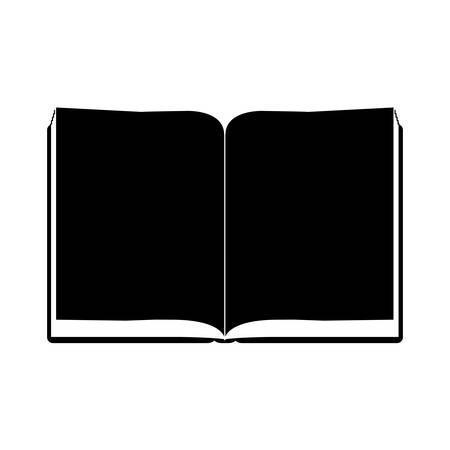 blacks: monochrome silhouette with open book with sheets blacks vector illustration