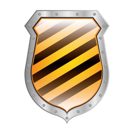 hazard stripes: metallic shield with diagonal stripe vector illustration