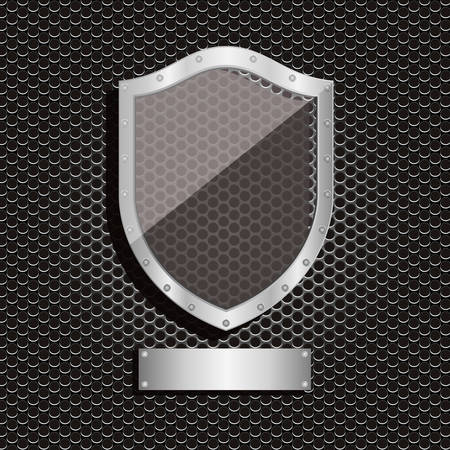 perforated: metal dot perforated texture with shield and plaque label vector illustration Illustration