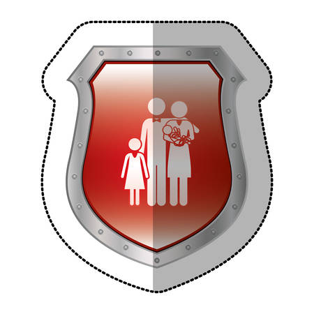 sticker metallic shield with pictogram of family with baby in arms vector illustration Illustration