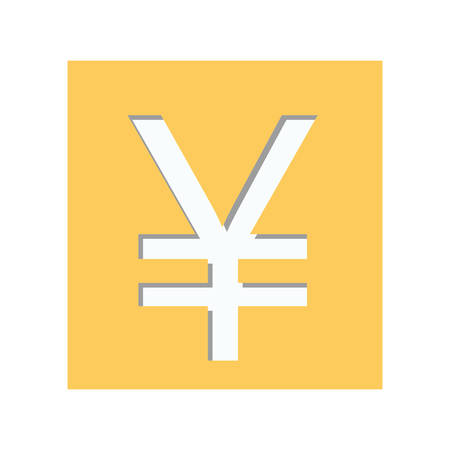 renminbi: yellow square shape with currency symbol of china vector illustration