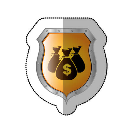 sticker shield with set collection bag with dollar symbol vector illustration Illustration
