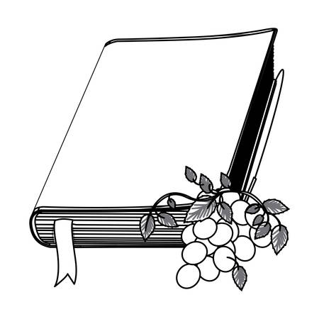 vangelo aperto: monochrome contour with holy bible with ribbon and grapes vector illustration Vettoriali