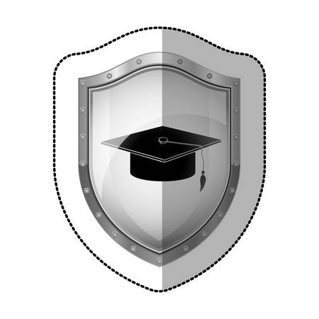 perforated: sticker metallic shield with silhouette of graduation cap vector illustration