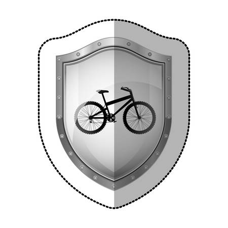 perforated: sticker metallic shield with silhouette bicycle vector illustration Illustration