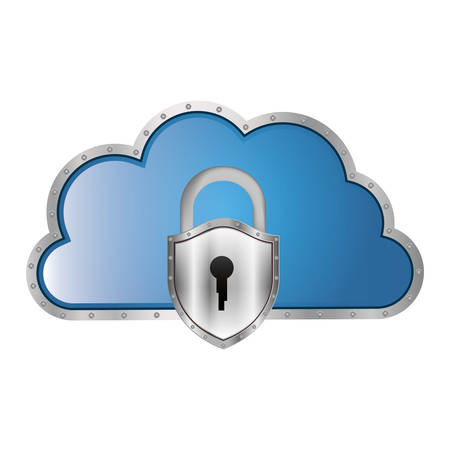 metallic cloud tridimensional in cumulus shape with padlock vector illustration