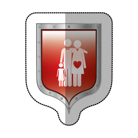 sticker metallic shield with pictogram of family with mom pregnant vector illustration Illustration