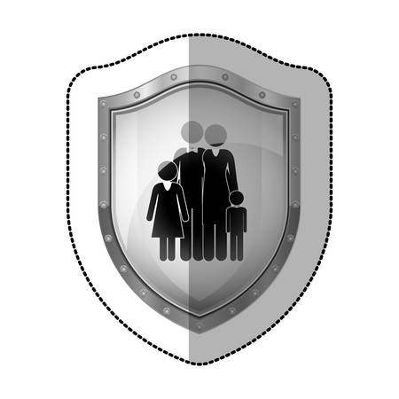 perforated: sticler dotted metallic shield with black silhouette of family nucleus vector illustration