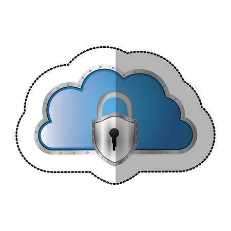 sticker metallic cloud tridimensional in cumulus shape with padlock vector illustration Illustration