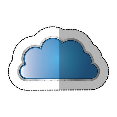 cumulus cloud: sticker metallic cloud tridimensional in cumulus shape vector illustration