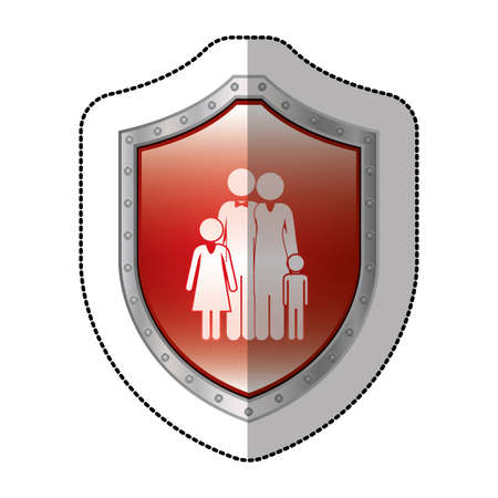perforated: sticker metallic shield with pictogram of family nucleus vector illustration Stock Photo
