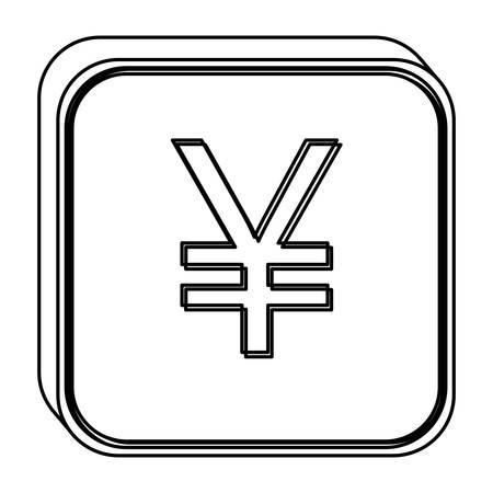 monochrome square contour with currency symbol of china vector illustration