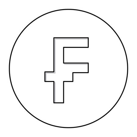 Monochrome Contour With Currency Symbol Of Frank French And Belgian