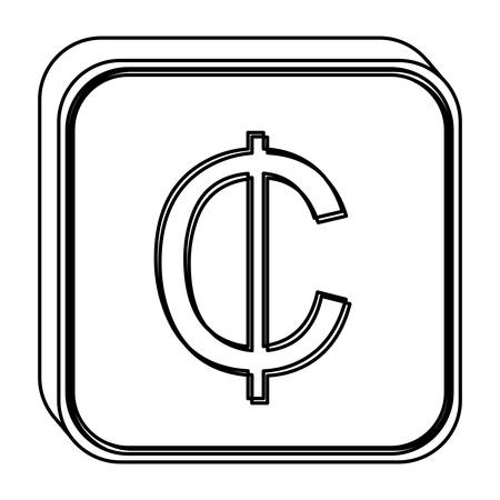 Monochrome Square Contour With Currency Symbol Of Cent Vector