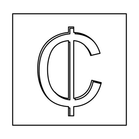 Monochrome Contour With Currency Symbol Of Cent In Square Vector