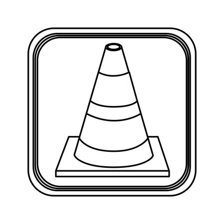 danger ahead: monochrome contour square with striped traffic cone vector illustration Illustration