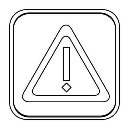 monochrome contour square with triangle exclamation sign vector illustration