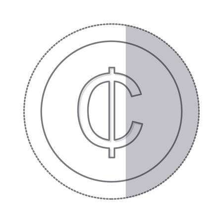 Middle Shadow Monochrome Circle With Currency Symbol Of Cent