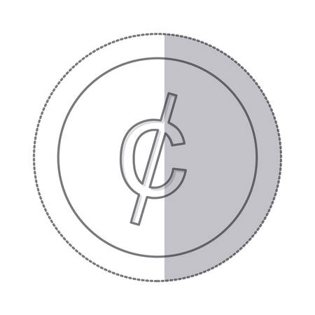 us coin: middle shadow monochrome circle with currency symbol of cent vector illustration