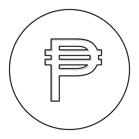 signo de pesos: contorno monocromático con el símbolo de moneda de filipina en ilustración de vector de círculo