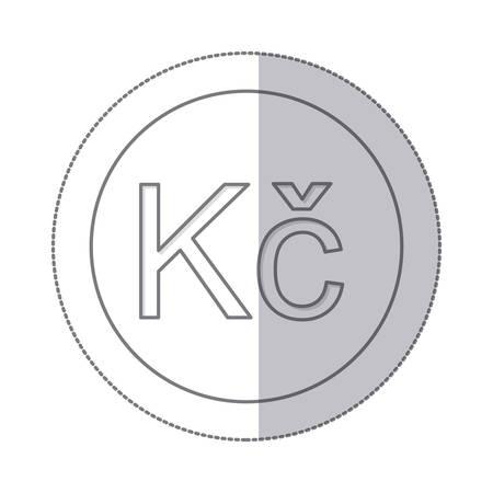 koruna: middle shadow monochrome circle with currency symbol of czech koruna vector illustration