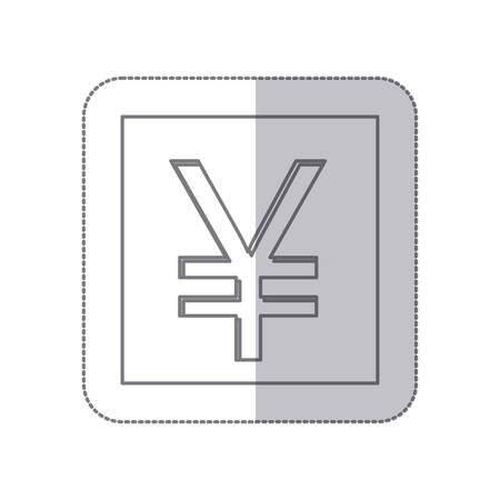renminbi: middle shadow monochrome square with currency symbol of china vector illustration Illustration