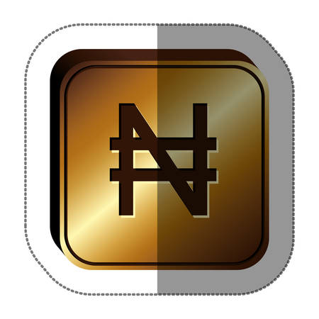 nigerian: sticker golden square with currency symbol of nigerian naira . Vector illustration