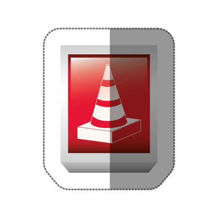 road works ahead: sticker rectangle button with striped traffic cone with shading vector illustration
