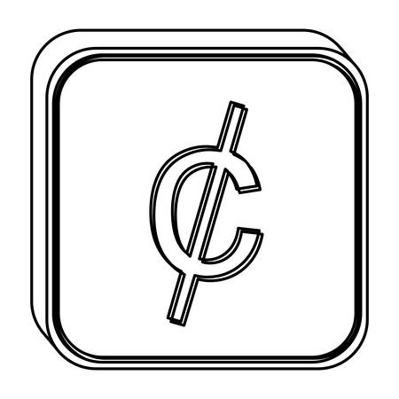 monochrome square contour with currency symbol of cent vector illustration Illustration