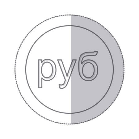 Mittlerer Schatten monochrome Kreis mit Währungssymbol der russischen Rubel Vektor-Illustration