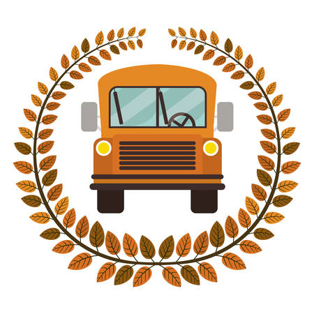 secondary: crown of leaves with school bus vector illustration Illustration