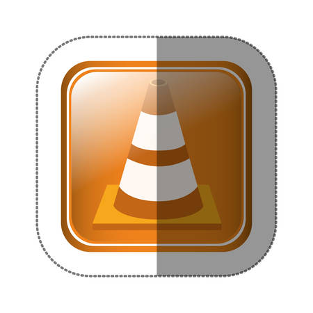 road works ahead: sticker square button with striped traffic cone with shading vector illustration Illustration