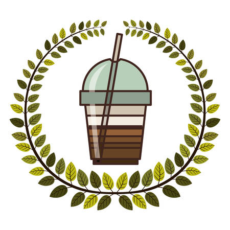 recipient: crown of leaves with glass disposable of cappuccino with Skinny drinks vector illustration