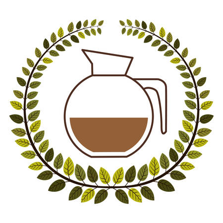 crown of leaves with rounded glass jar of coffee with handle vector illustration