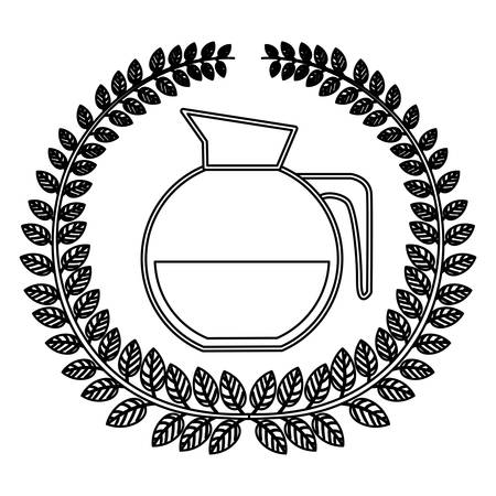 glass jar: silhouette crown of leaves with rounded glass jar of coffee with handle vector illustration