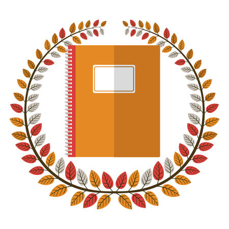 secondary: crown of leaves with notebook vector illustration