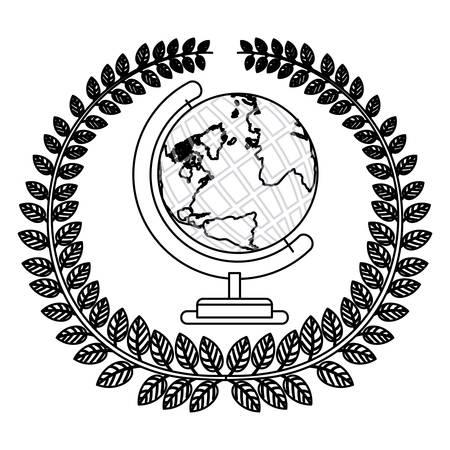 silueta monocromática con corona de olivo con la ilustración de vector de mapa mundial de tierra