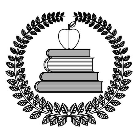 silhouette crown of leaves with school books with apple vector illustration Illustration