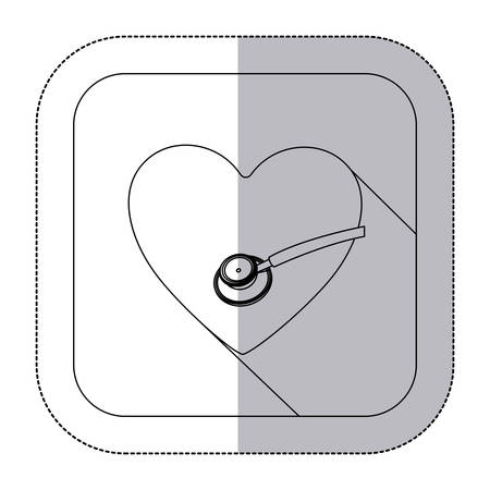 electrocardiograph: middle shadow monochrome sticker with heart and sthetoscope in frame vector illustration Illustration